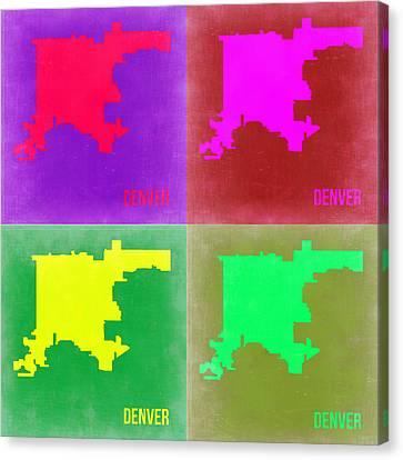 Denver Pop Art Map 2 Canvas Print by Naxart Studio
