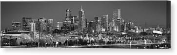 Canvas Print featuring the photograph  Denver Skyline At Dusk Black And White Bw Evening Extra Wide Panorama Broncos  by Jon Holiday