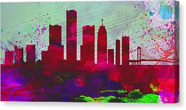 Detroit City Skyline Canvas Print by Naxart Studio