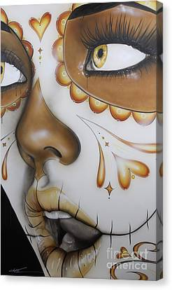 Sugar Skull - ' Dia De Los Muertos ' Canvas Print by Christian Chapman Art