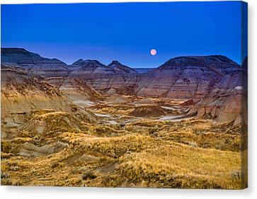 Canvas Print featuring the photograph  Dinosaur Harvest Moon by Rob Tullis