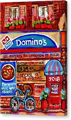 Domino Pizzeria Resto Bistro Cote St Luc Pizza Pie Cafe Paintings Cityscenes Carole Spandau Canvas Print by Carole Spandau