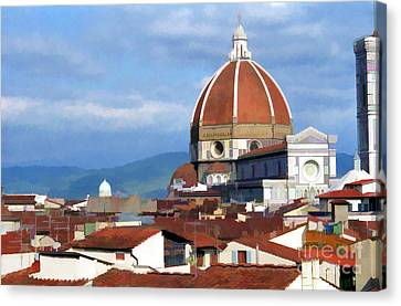 Canvas Print featuring the photograph  Duomo Of Florence # 3 by Allen Beatty