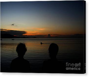 Canvas Print featuring the photograph  Enjoying Sunset by Michelle Meenawong