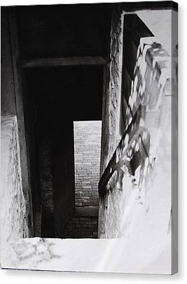 Canvas Print featuring the photograph  Ephrata Cloisters Stairway by Jacqueline M Lewis
