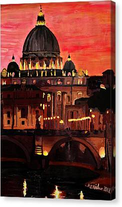 Night Canvas Print -  Eternal City  Rome St Peter Vatican At Dusk by M Bleichner