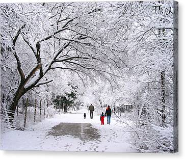 Family Walk In The Snow Canvas Print by David and Carol Kelly