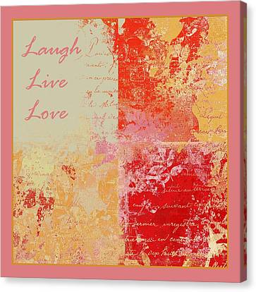 Feuilleton De Nature - Laugh Live Love - 01efr01 Canvas Print by Variance Collections