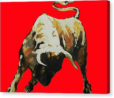 Fight Bull In Red Canvas Print by J- J- Espinoza