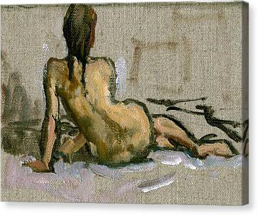 Figure Painting Seated Female Nude. Small Original Oil Sketch On Canvas Realist Figure Painting Canvas Print by Thor Wickstrom