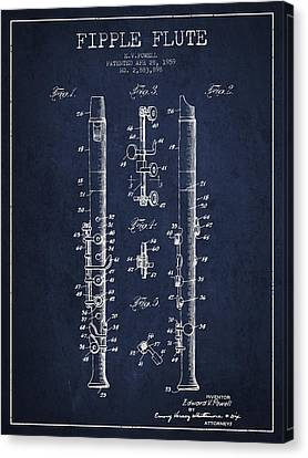 Fipple Flute Patent Drawing From 1959 - Navy Blue Canvas Print by Aged Pixel