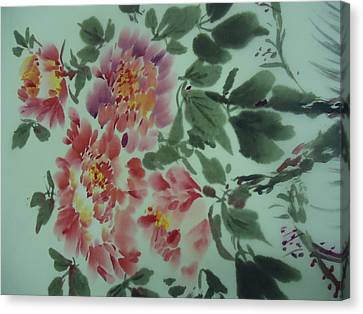 Canvas Print featuring the painting  Flower 0725-2 by Dongling Sun