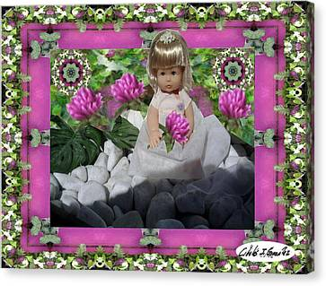 Flower Girl Upon Rocks Canvas Print by Cibeles Gonzalez