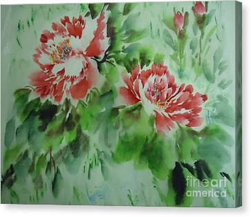 Canvas Print featuring the painting  Flower0728-5 by Dongling Sun