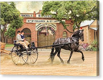Horse And Cart Canvas Print -  Friesian Folly by Trudi Simmonds