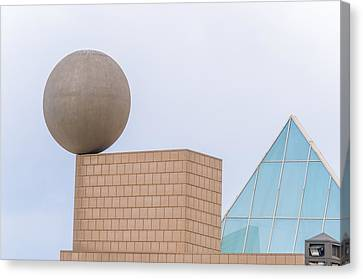 Gehrys Sphere Sculpture  Barcelona Spain  Canvas Print by Marek Poplawski