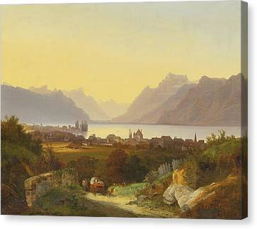 Geneva Lake View From Vevey Canvas Print by Celestial Images