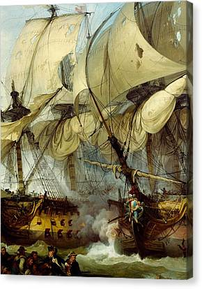 Glorious First Of June Or Third Battle Of Ushant Between English And French Canvas Print by Anonymous