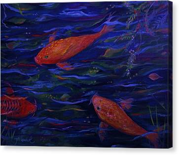 Canvas Print featuring the painting  Golden Fish Koi by Yolanda Rodriguez