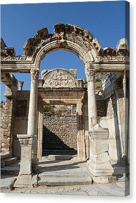 Library Of Celsus Canvas Print -  Hadrian Temple by Zori Minkova