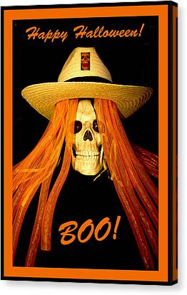 Happy Halloween Skull Canvas Print by Barbara Snyder