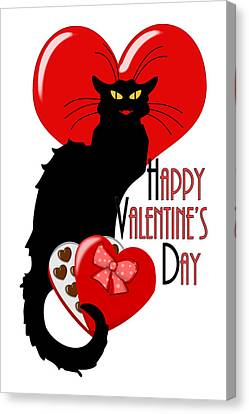 Happy Valentine's Day Le Chat Noir Canvas Print by Gravityx9  Designs