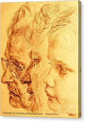 Have Your 3 Generations Drawn Or Painted Canvas Print by PainterArtistFINs Husband MAESTRO