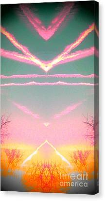 Canvas Print featuring the photograph  Heavenly  Contrails  by Karen Newell