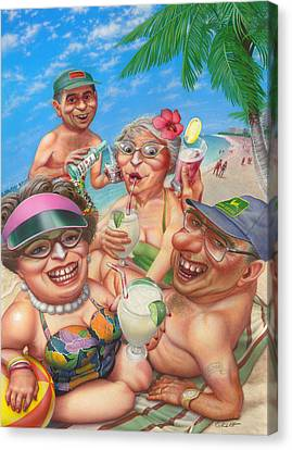 Surf Lifestyle Canvas Print -  Humorous Snowbirds On Vacation - Senior  Citizen Citizens - Beach - Illustration  by Walt Curlee