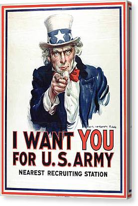 I Want You For The Us Army Recruitment Poster During World War I Canvas Print