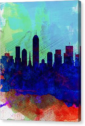 Indiana Landscapes Canvas Print -  IIndianapolis Watercolor Skyline by Naxart Studio