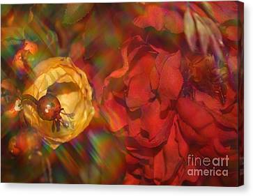 Canvas Print featuring the photograph  Impressionistic Bouquet Of Red Flowers by Dora Sofia Caputo Photographic Art and Design