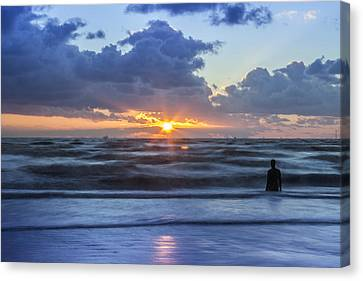 Incoming Tide At Crosby Beach Canvas Print by Paul Madden