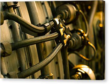 Jet Engine Part With Hoses Canvas Print by Oliver Sved