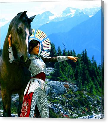 Canvas Print featuring the painting  Joan Of Arc Visionary by Suzanne Silvir