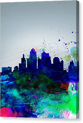 Kansas City Watercolor Skyline Canvas Print by Naxart Studio