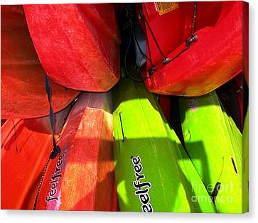 Canvas Print featuring the photograph  Kayaks by Michelle Meenawong