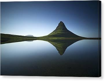 Mountain Reflection Lake Summit Mirror Canvas Print - ... Kirkjufell by Raymond Hoffmann