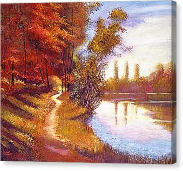Lakeside Colors Canvas Print by David Lloyd Glover