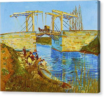Langlois Bridge At Arles With Women Washing Canvas Print by Vincent van Gogh