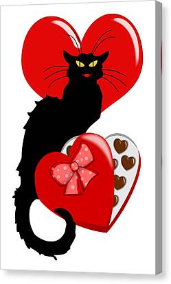 Le Chat Noir With Chocolate Candy Gift  Canvas Print by Gravityx9   Designs