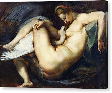 Leda And The Swan Canvas Print by Peter Paul Rubens