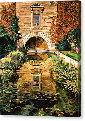 Lily Pond And Fountain Canvas Print by David Lloyd Glover