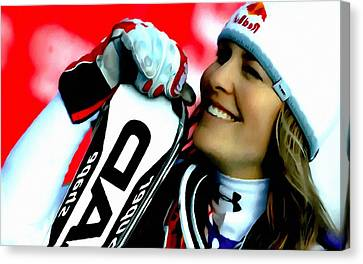 Lindsey Vonn Skiing Canvas Print by Lanjee Chee