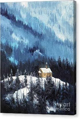 Little Chapel Red Cloud Canvas Print by David Ackerson