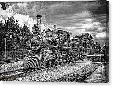 Locomotive Steam Black And White Canvas Print