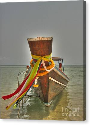 Canvas Print featuring the photograph  Long Tail Boat by Michelle Meenawong
