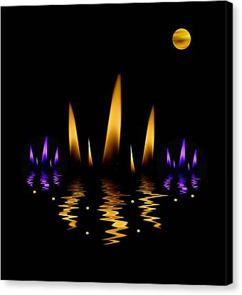 Lotus On Fire In The Dark Night Canvas Print by Pepita Selles