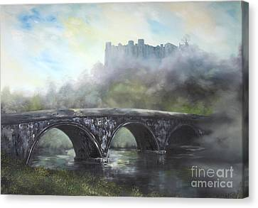 Canvas Print featuring the painting  Ludlow Castle In A Mist by Jean Walker