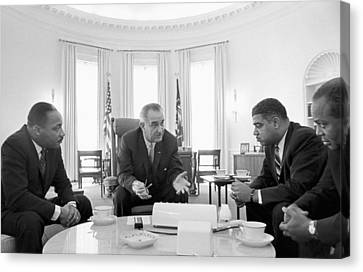 Democrats Canvas Print -  Lyndon Baines Johnson 1908-1973 36th President Of The United States In Talks With Civil Rights  by Anonymous